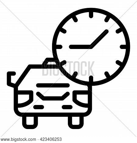 Taximeter Automobile Icon. Outline Taximeter Automobile Vector Icon For Web Design Isolated On White