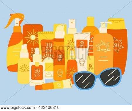 Set Of Spf Bottles, Tubes Stand Together With Sunglasses. Sunscreen Protection And Sun Safety. Sunsc
