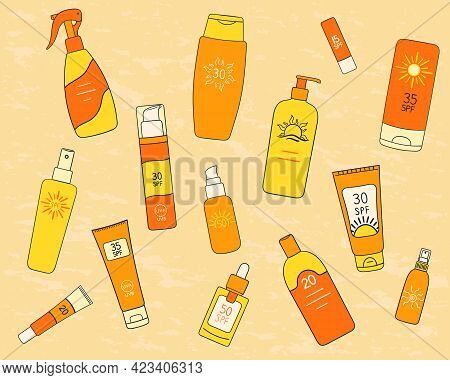 Set Of Spf Bottles, Tubes On Sand Background. Sunscreen Protection And Sun Safety. Sunscreen Cream,