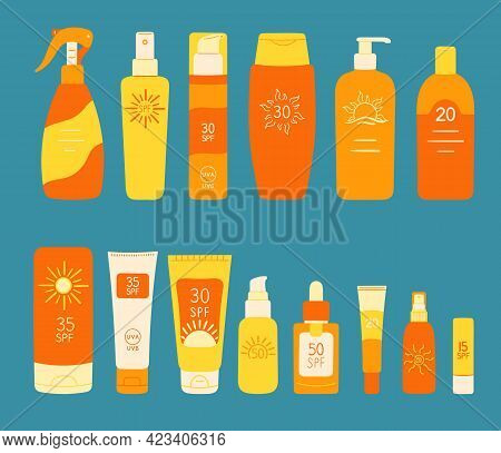 Set Of Spf Bottles, Tubes. Sunscreen Protection And Sun Safety. Sunscreen Cream, Lotion Isolated Col