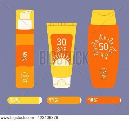 Set Of Sunscreen Bottles, Tubes With Different Spf From 15 To 50. Infographic Amount Spf Protection