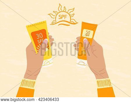 Set Of Sunscreen Bottles, Tubes With Different Spf From 30 To 50 In Female Hands. What To Choose. Su