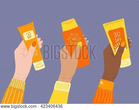Set Of Sunscreen Bottles, Tubes With Different Spf From 30 To 50 In White, Tan, Black Female Hands.