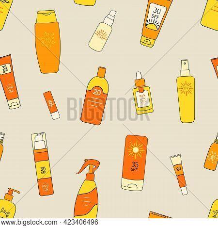 Seamless Pattern Of Sunscreen Bottles, Tubes, Spray. Spf Cream, Lotion Ornament. Sunscreen Protectio