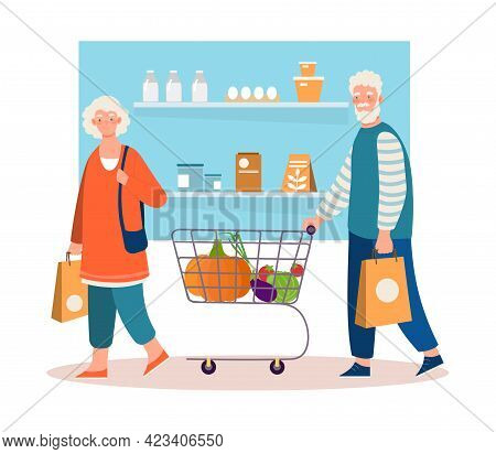 Happy Senior Couple Is Shopping With Cart And Basket In Grocery Store. Elderly Man And Woman Shoppin