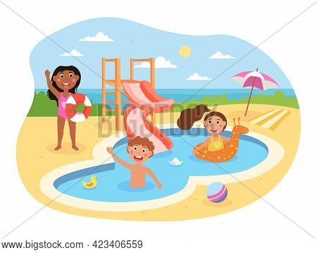 Little Happy Kids Are Having Fun In Aquapark Together. Children Playing In The Pool With Rings On A