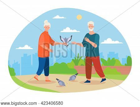 Cute Elderly Couple Is Feeding Pigeons Together In The Park. Senior Male And Female Characters Are H
