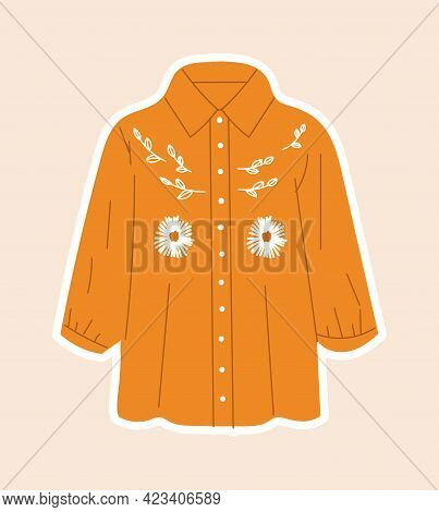 Cute Sticker Of Orange Shirt Sewed With Flowers On Cloth. Concept Of Sewing Or Needlework Stickers W