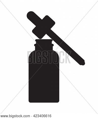 Vector Black Essence Oil Bottle Silhouette Isolated On White Background