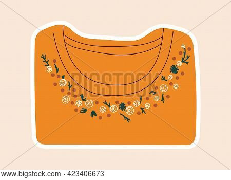 Cute Sticker Of Orange Shirt Sewed With Flowers On Throat. Concept Of Sewing Or Needlework Stickers