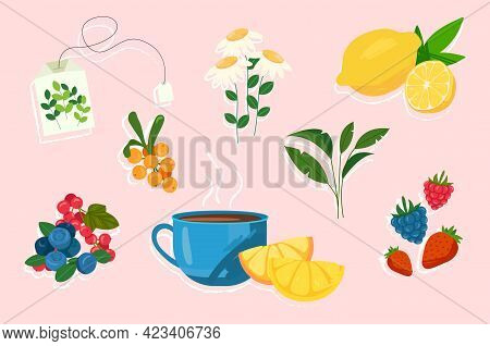 Cute Sticker Of Tea Ceremony With Fruits And Berries On Pink Background. Concept Of Afternoon Tea Ti