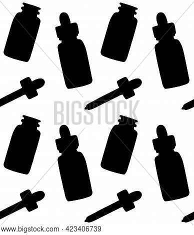 Vector Seamless Pattern Of Hand Drawn Oil Essence Bottle Silhouette Isolated On White Background