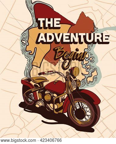 Cute Vintage Sticker With Motorcycle With Map On The Background And Adventure Begins Lettering. Conc