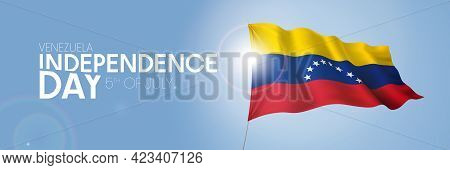Venezuela Happy Independence Day Greeting Card, Banner With Template Text Vector Illustration