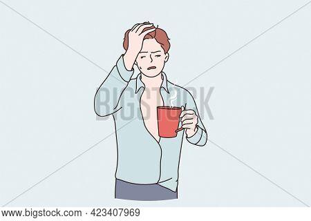Morning Hangover And Flu Concept. Sleepy Guy Cartoon Character Standing With Tea Cup Having Headache
