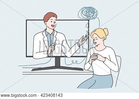 Telemedicine And Online Medical Support Concept. Young Woman Cartoon Character Sitting And Getting M