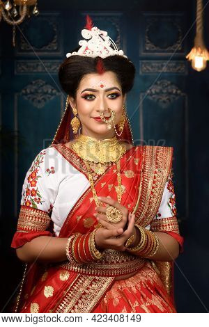 Stunning Indian Bride Dressed In Hindu Red Traditional Wedding Clothes Sari Embroidered With Gold Je