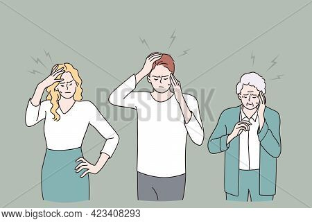 Having Headache And Pain Concept. Group Of Sad Young And Old People Cartoon Characters Standing Touc