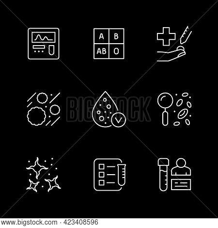 Set Line Icons Of Hematology Isolated On Black