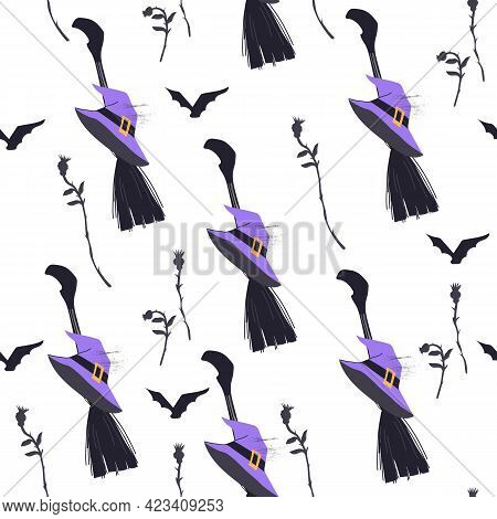 Halloween Seamless Pattern Or Wrapping Design With Witches Hat And Broom, Flat Vector Illustration O