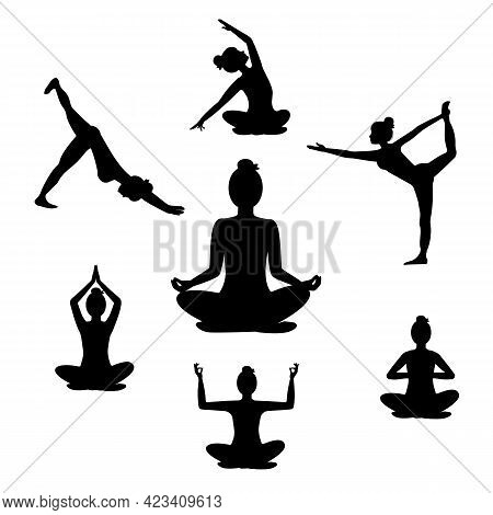 Beautiful Woman Doing Yoga Exercises, Black Silhouette On White Background. Set Of Seven Yoga Poses