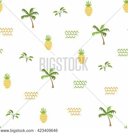 Summer Nature Seamless Pattern. Vector Illustration Of Pineapples, Palm Trees, Waves And Safari Plan