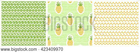Set Of Three Summer Nature Seamless Patterns. Vector Illustration Of Waves, Sand, Pineapples. Shabby