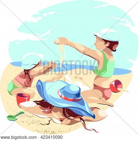 A Tired Woman Lies On The Sand. A Boy And A Girl Sprinkle Sand On Their Mother. Children Bury Their