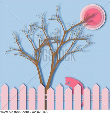 The Cat Sits On The Fence And Washes. A Branchy Tree Grows Behind A Fence Against A Background Of Bl