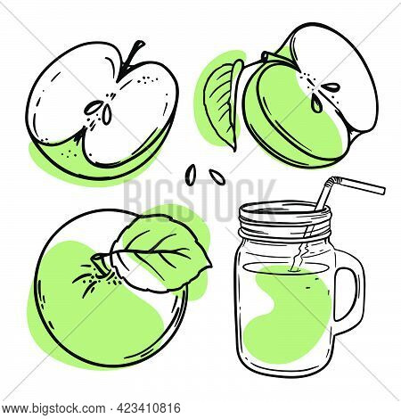Green Apple Juice Smoothie In Glasslock With Abstract Juicy Fruits For Design Of Organic Natural Pro