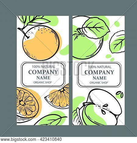 Orange Apple Labels Design Of Stickers For Shop Of Tropical Organic Natural Fresh Juicy Fruits And D