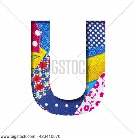 Handicraft Or Creative Font. The Letter U Cut Out Of Paper On The Background Of The Texture Of Piece