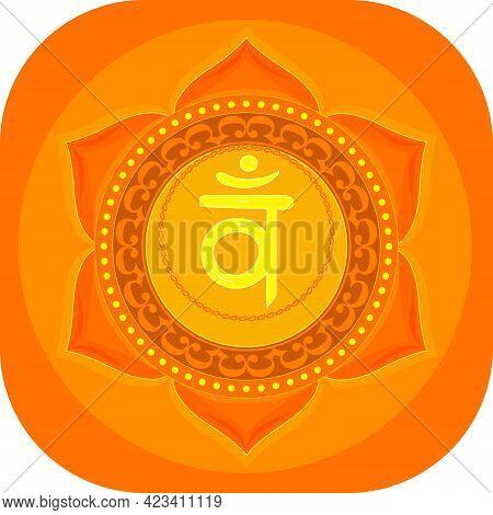 The Second Swadhisthana Chakra With The Hindu Sanskrit Seed Mantra Vam . Orange Is A Flat-style Symb