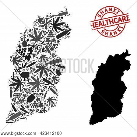Vector Addiction Mosaic Map Of Shanxi Province. Grunge Health Care Round Red Watermark. Concept For