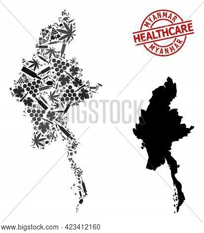 Vector Addiction Composition Map Of Myanmar. Rubber Healthcare Round Red Rubber Imitation. Template