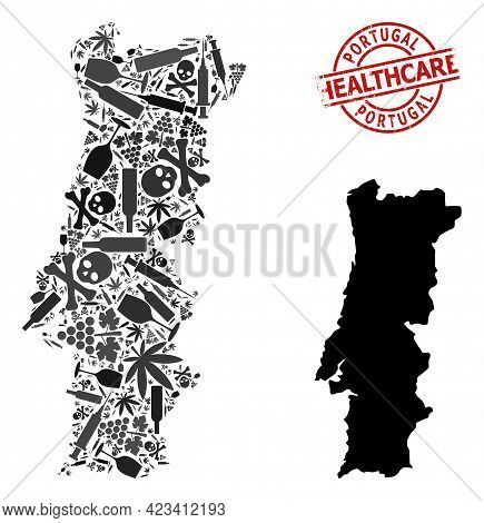 Vector Narcotic Composition Map Of Portugal. Scratched Health Care Round Red Stamp. Concept For Narc