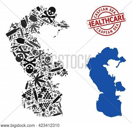 Vector Addiction Collage Map Of Caspian Sea. Rubber Healthcare Round Red Watermark. Template For Nar