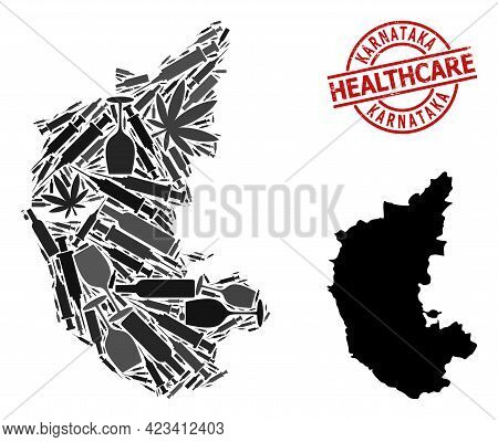 Vector Addiction Collage Map Of Karnataka State. Scratched Healthcare Round Red Badge. Template For