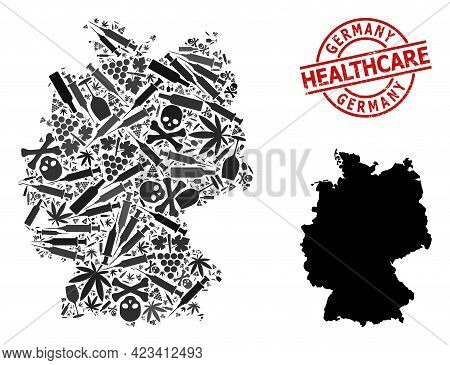 Vector Addiction Collage Map Of Germany. Scratched Healthcare Round Red Watermark. Template For Narc