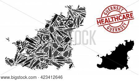 Vector Addiction Composition Map Of Guernsey Island. Rubber Health Care Round Red Rubber Imitation.