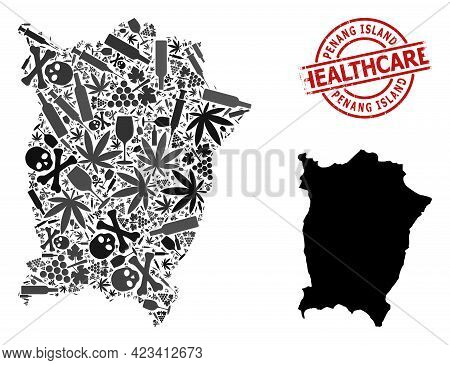 Vector Addiction Mosaic Map Of Penang Island. Scratched Healthcare Round Red Watermark. Concept For