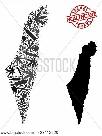 Vector Addiction Collage Map Of Israel. Grunge Health Care Round Red Imprint. Concept For Narcotic A