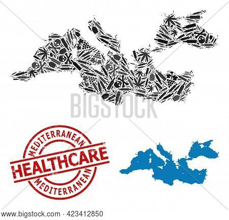 Vector Narcotic Collage Map Of Mediterranean Sea. Rubber Health Care Round Red Imprint. Template For
