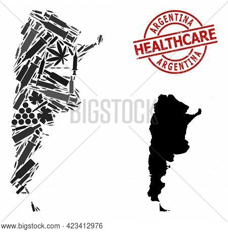 Vector Addiction Mosaic Map Of Argentina. Rubber Health Care Round Red Stamp. Template For Narcotic