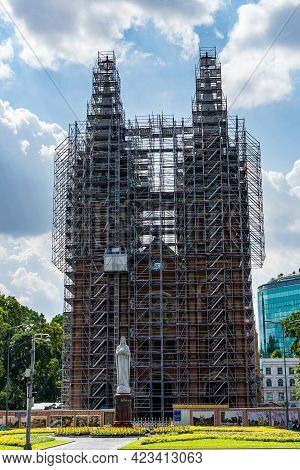 Notre Dame Basilica Of Saigon During Restoration Covered With Scaffolds
