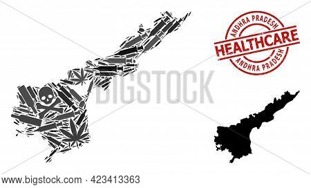 Vector Narcotic Collage Map Of Andhra Pradesh State. Rubber Healthcare Round Red Rubber Imitation. C