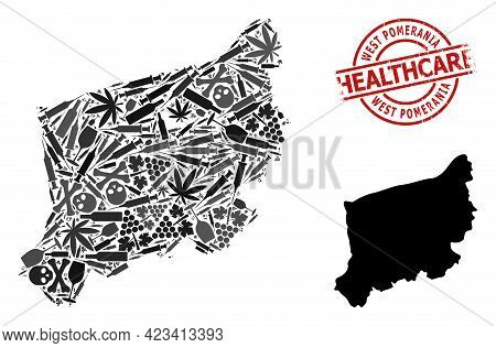 Vector Addiction Composition Map Of West Pomerania Province. Grunge Healthcare Round Red Rubber Imit
