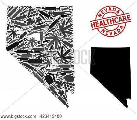 Vector Narcotic Composition Map Of Nevada State. Rubber Healthcare Round Red Watermark. Concept For