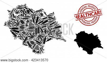 Vector Narcotic Collage Map Of Himachal Pradesh State. Grunge Healthcare Round Red Seal Stamp. Templ
