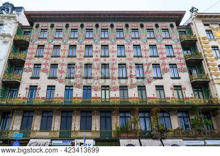 Vienna, Austria - May 22, 2019: This Is The Facade Of The Majolica House (architect Otto Wagner), On
